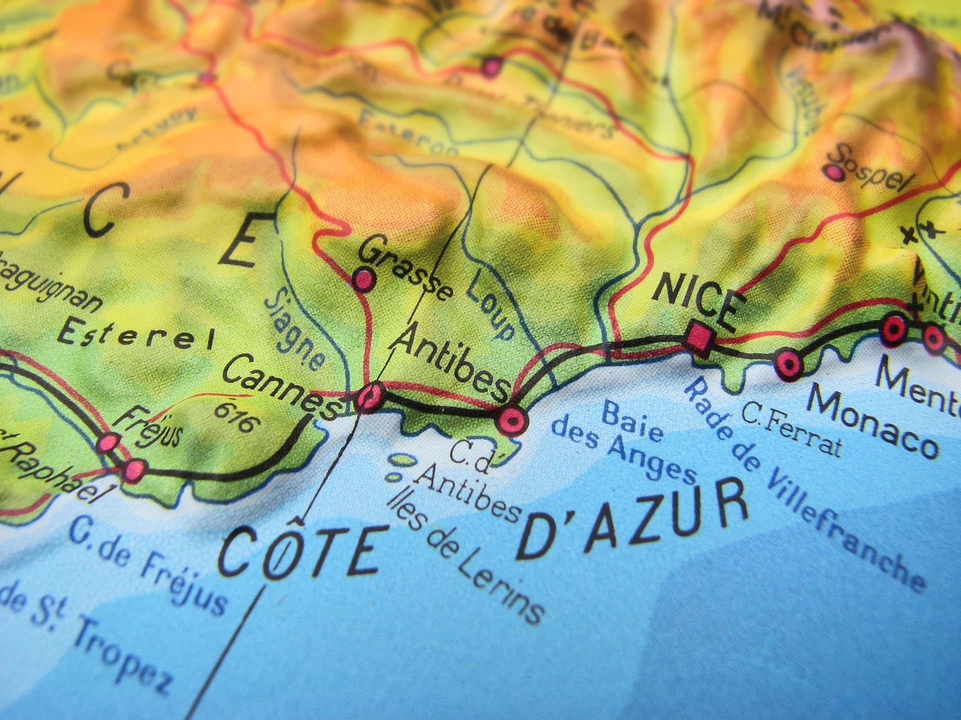Côte d'Azur Karte